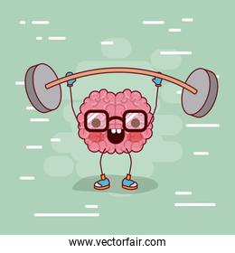 brain cartoon with glasses and weightlifting and background in light green