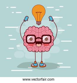 brain cartoon with glasses and light bulb on top in background light blue
