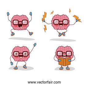 brain cartoon set with glasses and books and lightnings in white background