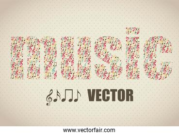 Illustration of musical notes forming a music word music sound v