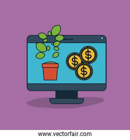 desktop computer with plant pot and coins in screen in violet background