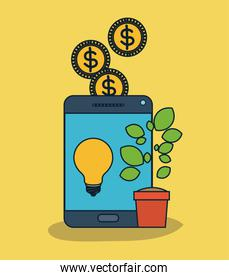 tablet device with light bulb in screen and plant pot and coins in yellow background