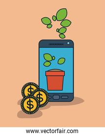 smartphone device with plant pot in screen and coins in salmon color background