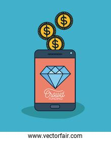 tablet device with text crowd funding and diamond in screen and coins on top in blue background