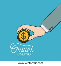 crowd funding poster of hand with coin in blue background