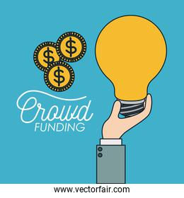 crowd funding poster of hand with big light bulb and coins in blue background