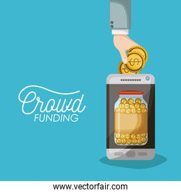 crowdfunding poster of smartphone with savings bottle coins in screen in blue background