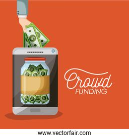 crowdfunding poster of tablet device with savings bottle bills in screen in orange background