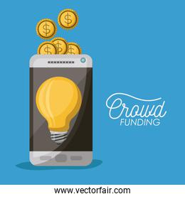 crowdfunding poster of smartphone with light bulb in screen and coins on top in blue background