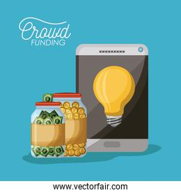crowdfunding poster of tablet device with light bulb in screen and coins and bills in bottle savings in blue background