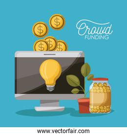 crowdfunding poster of desktop computer with light bulb in screen and coins on top and plant pot and coins in bottle in blue background