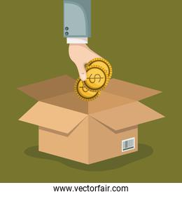 crowd funding poster with hand depositing coins in cardboard box in background olive color