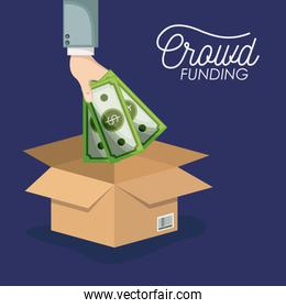crowd funding poster with hand depositing money bills in cardboard box in background dark blue color