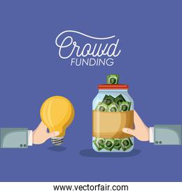 crowd funding poster with hands holding light bulb and bottle with money bills savings in background purple color