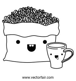 bag with beans and cup of coffee monochrome kawaii silhouette
