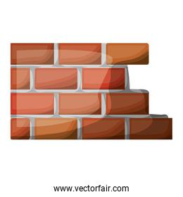 brick wall flat icon colorful silhouette with half shadow