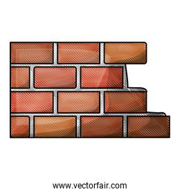 brick wall flat icon in colored crayon silhouette