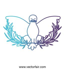 pigeon peace symbol front view with olive branch in her peak on gradient color silhouette from blue to purple