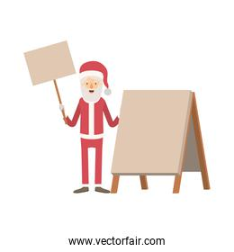 santa claus caricature full body holding a wooden poster and empty advertising with hat and costume on colorful silhouette