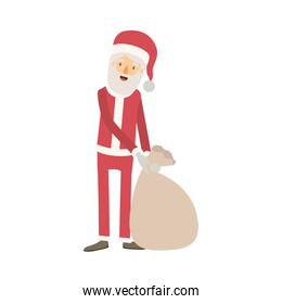 santa claus caricature full body dragging a gift bag hat and costume on colorful silhouette
