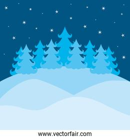 winter landscape with pines and sky with stars on colorful silhouette