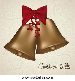 illustration of christmas golden bells with red ribbon vector il