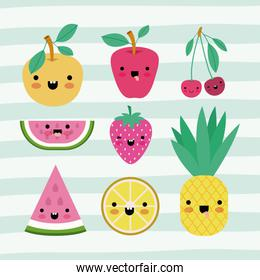 kawaii fruits set collection on decorative lines color background