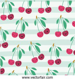 cherries kawaii fruits pattern set on decorative lines color background