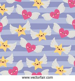 stars and hearts with wings pattern and lines colorful background