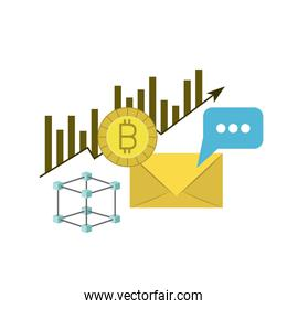bitcoin statistics bars growing and mail envelope