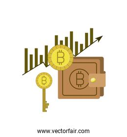 bitcoin statistics bars growing currency and key and wallet