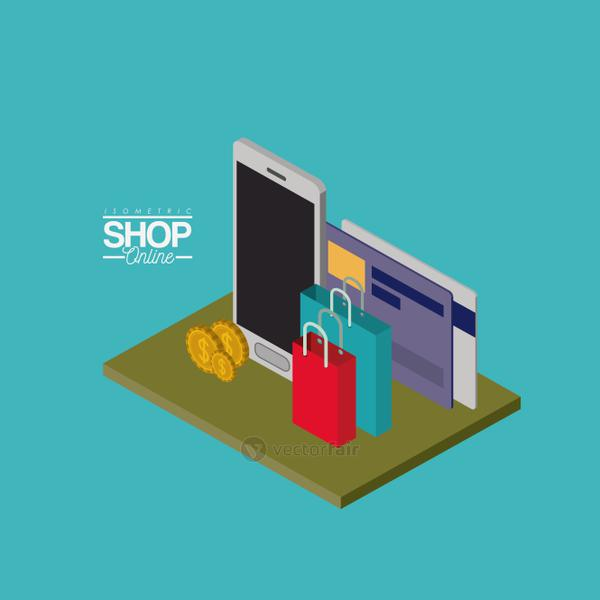 smartphone with credit cards and shopping bags and coins over green floor colorful poster isometric shop online