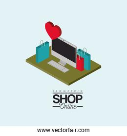 desktop computer and shopping bags over green floor with heart on top colorful poster isometric shop online
