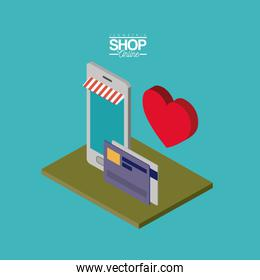 smartphone and credit cards and big heart over green floor colorful poster isometric shop online