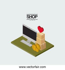 desktop computer and coins and cardboard boxes stack and heart on top over green floor colorful poster isometric shop online