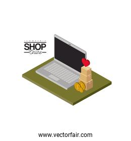 laptop computer and coins and cardboard boxes stack and heart on top over green floor colorful poster isometric shop online