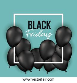 black friday poster with white frame with black balloons and aquamarine color background