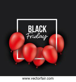 black friday poster with white frame with red balloons and black color background
