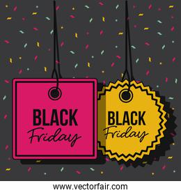 black friday promotional tags magenta and yellow pendant of threads in black background with confetti colorful