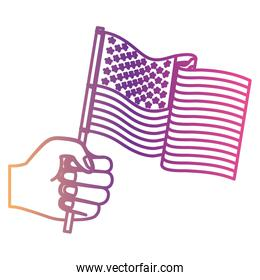 hand holding united states waving flag gradient color silhouette from purple to red