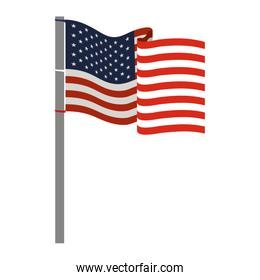 united states flag waving in colorful