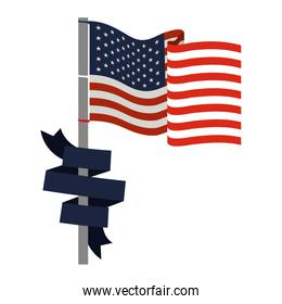 united states flag with dark blue ribbon in pole colorful silhouette
