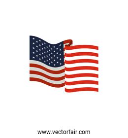 united states flag waving in colorful silhouette