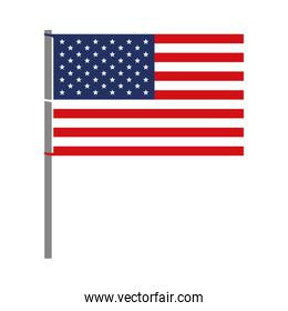 united states flag with pole in colorful silhouette