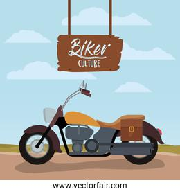 biker culture poster with classic vintage motorcycle with leather bag and yellow fuel tank