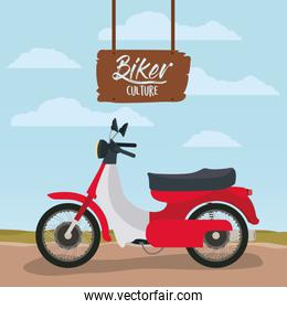 biker culture poster with classic scooter in red color