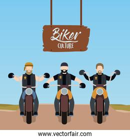 biker culture poster with motorcyclists gang