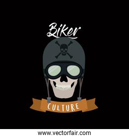biker culture poster with skull motorcycler with glasses