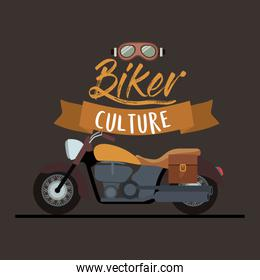 biker culture poster with classic vintage motorcycle with leather bag and yellow fuel tank in brown background