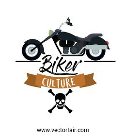 biker culture poster with classic vintage motorcycle with skull and bones symbol in white background